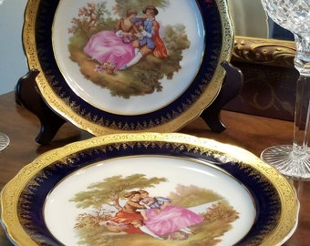 "Pair of Limoges of France 10"" Cobalt Blue and Gold Decorative/Dinner Plates"