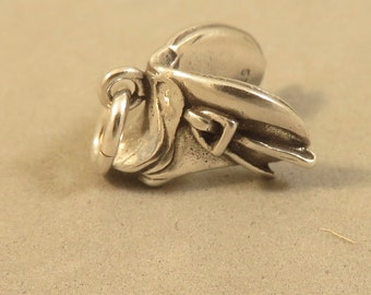 Sterling Silver DRESSAGE SADDLE Charm Pendant Equestrian Equine Tack Horseback Riding Equipment Training Horse .925 Sterling Silver New hs36