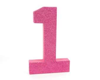 Pink Glitter Number 1 - First Birthday - Party Decor - Princess Party - Strawberry Shortcake Birthday - Big Number for Birthday Party