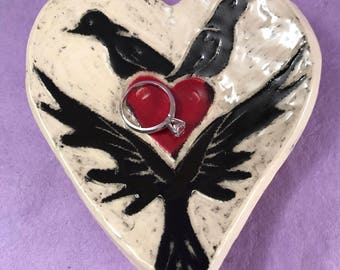 Clay Heart Ring Dish or Spoon Rest with Crows and Heart