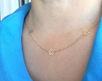 Gold Flower Necklace, Flower Satellite Chain, 14K Gold Filled Flowers Necklace, Gold Necklace, Delicate Gold Necklace, Dainty Gold Choker,