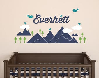 Mountain Name Wall Decal Nature Tribal Baby Nursery Wilderness Woodland Room Decor