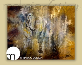 Horse Mixed Media Painting Art Canvas Gallery Wrap