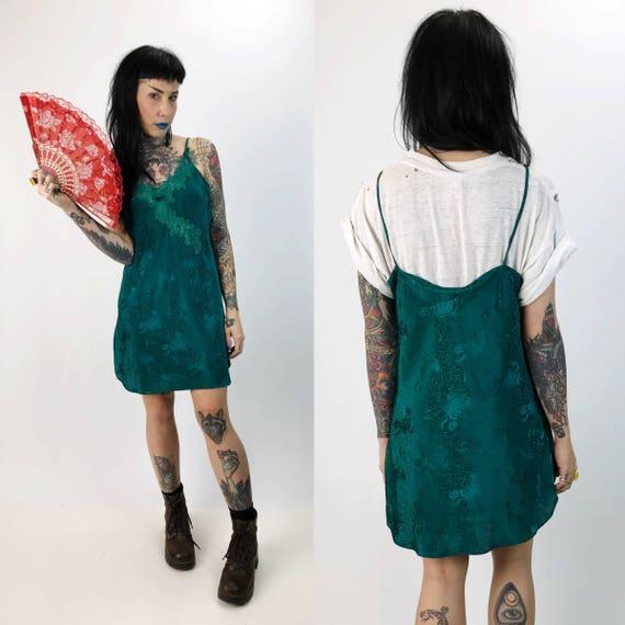 90's Emerald Green Slip Dress Small Lightweight Sundress - Vintage Spaghetti Strap Lingerie Mini Layer/Dress - Floral Print Teal Green Slip