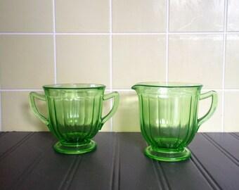 Vintage Green Depression Glass Sugar and Creamer