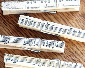 decorative clothespins, hand stamped, magnetic clips. music design -- set of 4