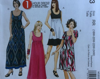 McCall's Plus Size Woman's Easy to Sew Dress Pattern M893 - Uncut