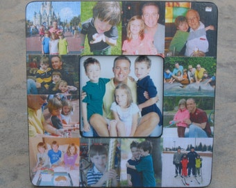 """Father's Day Collage Picture Frame, Custom Family Photo Collage, Unique Baby's First Year Frame, Personalized Dad Birthday, 8"""" x 8"""" Frame"""