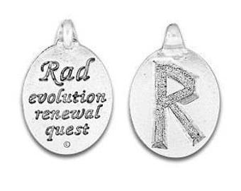 Set of Two Rune Pendant, Raidho Rune Symbol,  Norse Symbol, Celtic Symbol, Rad Rune, Symbol, Evolution, Renewal, Quest, Pewter, Made in USA