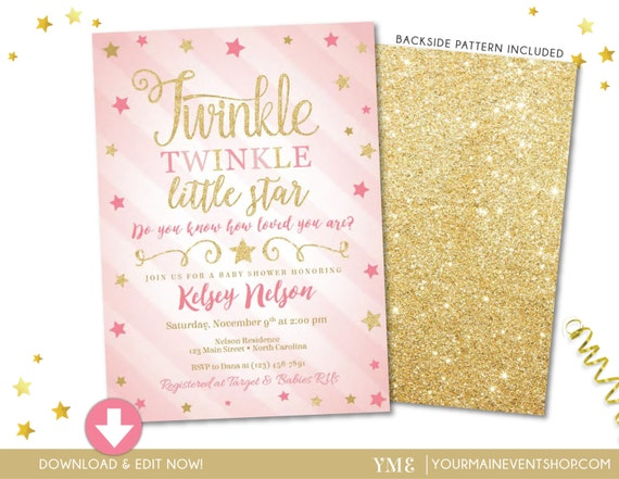 Twinkle Twinkle Little Star Baby Shower Invitation • Pink and Gold Girl Twinkle Twinkle Invite • Instant Download File
