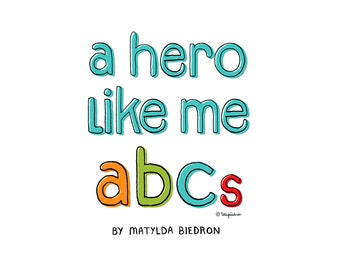 "flash card set of ""a hero like me ABCs"""