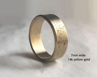 Men's Distressed Gold Wedding Band, Men's Rustic Wedding Band, Men's Wedding Band, Men's Textured Wedding Ring, Yellow, Rose, White Gold
