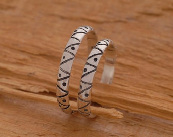Unique Matching Wedding Bands, Sterling Silver Wedding Ring Set, His and Hers Promise Rings, BE49
