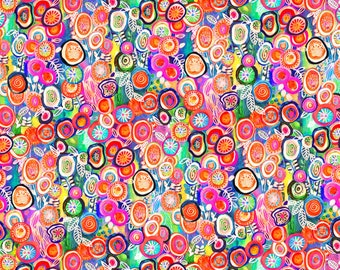 Multi Circles Digitally Printed Cotton Fabric -Euphoria Collection Robin Mead -  P & B Textiles - Colorful, Modern