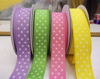 7/8 inch x 10 yards Grosgrain Ribbon..Spring Polka Dots(Your Choice of Color)-On Sale Now...FREE SHIPPING