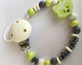 Personalized pacifier - wooden beads - model little Fox green boy - reserved