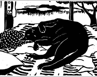 "Lounging black cat in ""Mauna Kea Odalisque"" - Original linoleum block print"