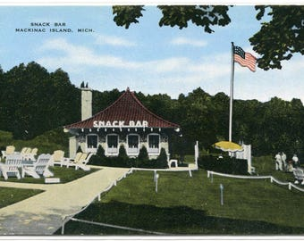 Snack Bar Mackinac Island Michigan postcard