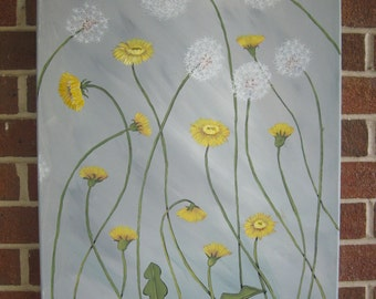 Dandelion Painting Yellow and Gray Painting Abstract Flowers Large Painting