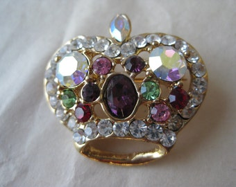 Crown Pink Purple Aurora Brooch Gold Rhinestone Vintage Pin Clear