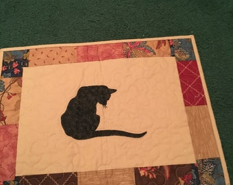 Mini Quilt Cat Primitive Modern Traditional great Gift Housewarming