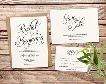 simple elegant Printable Wedding Invitation Set