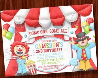 Clown-Zirkus-Themen-Einladung