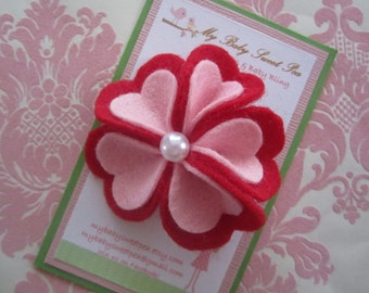 Girl hair clips - valentine hair clips - baby hair clips- girl barrettes