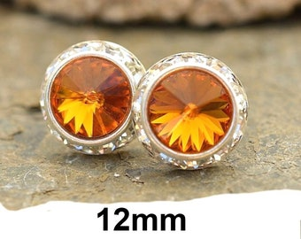 Topaz and Silver Halo Earrings, 12mm Topaz Crystal Studs, November Birthstone Studs, Large Studs