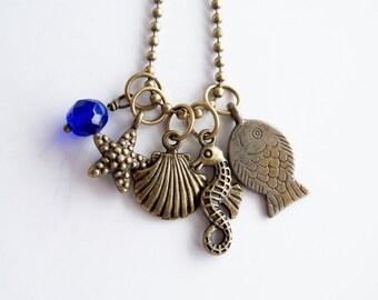 Ocean Charm Necklace - Seaside Jewelry - Coastal Sea Necklace - Fish Seahorse Clam Shell Starfish Charms - Nautical Jewelry - Custom Jewelry