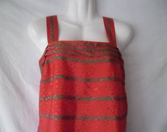 Colorful Stripes Red Green Burgundy Top,Sleeveless Blouse 80s,Summer Vintage Top,Printed Sleeveless Elegant Blouse,Colorful Vintage 80s Top