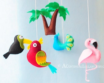 Jungle Birds Baby Mobile, Jungle Nursery Decor, Jungle Baby Shower, Baby Crib Mobile, Baby Boy Mobile, Baby Girl Mobile, Neutral Mobile