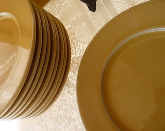 "Made in Southern France - JARS Ceramics - Mustard Basique Yellow - SET 6 or ONE French - Brunch / Sandwich / Lunch / Salad  8 3/8"" Plates"