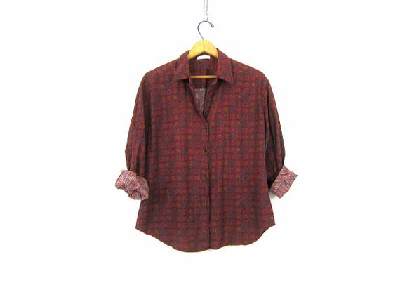Women's Cotton Oxford Preppy Printed Blouse Casual Hipster Top Button Up Long Sleeve 90s Top Dark Red Collar Top Vintage Womens Medium