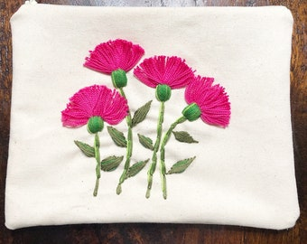 Hand Embroidered Zipper Bag