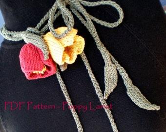PDF Flower Knitting Pattern - Poppy Love Lariat