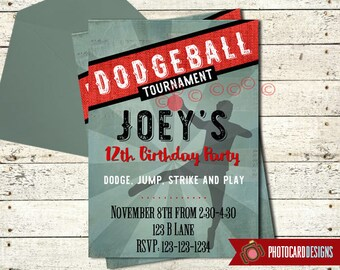 Dodgeball Birthday Invitation | Dodgeball Party | Invite | Dodgeball Birthday | Print file | Ball | Digital | Party | Teen Party | Sports