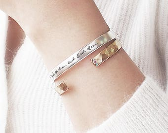 Mother's day Gift / Personalized Cuff Bracelet with Birthstone / Handwriting Cuff Bracelet / Bridesmaid Gift  - HB10S