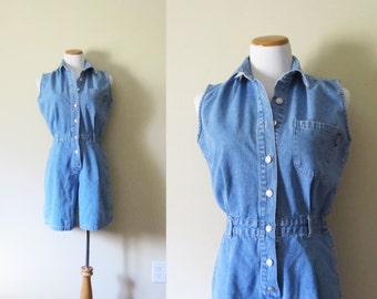 vintage romper 90s jumpsuit jean 1990s denim summer sleeveless minimalist womens clothing size small s medium m