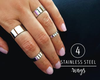 Stainless steel ring set / / statement rings / midi rings / knuckle ring set silver tone / set of 4 rings / adjustable ring bands