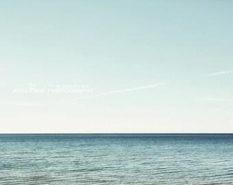Water Photography, Nautical Decor, Aqua Bathroom Wall Art, Lake House, Coastal Wall Decor, Modern Abstract Fine Art Photo   'Blue Horizon'