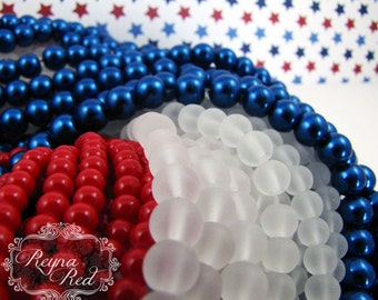 Patriotic July 4th Glass Bead Mix, 3 Extra Long strands glass pearls, glass beads, patriotic, military, Independence Day - reynaredsupplies