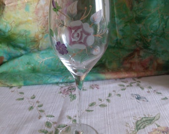 Etched and Painted Flowered Long Stemmed Wine Goblet