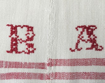 NCT1402 Cherry Red Stripe LInen Tablecloth Linen with 'BA' Monogram