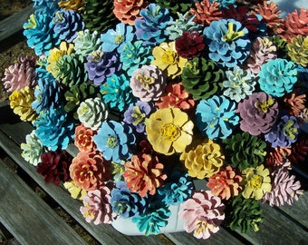 Pine Cone Flowers, Painted Pine Cones,  on 12-inch Wood Stems.  Bouquet, Mother's Day, Gifts.  One dozen.  Pinecone, Gifts for women.