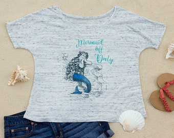 Mermaid Off Duty, Beach Slouchy Scoop Neck Women's T-Shirt, Ocean, Vacation, Travel, Gift for Women, Gift for Her, Aesthetic Clothing