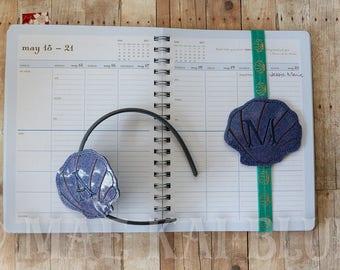 Seashell - Clamshell - Headband Slider - Hair Jewelry - Cover - Bookband - Personalized Monogram
