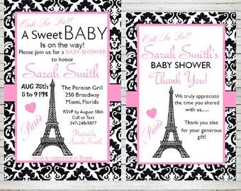Paris Invitation Bridal Shower Baby Shower Birthday Party Editable Invitation Templates Eiffel Tower Parisian Editable Invitation BD60B