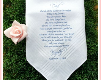 Father of the Bride/Groom-Wedding Handkerchief-PRINTED-CUSTOMIZED-Wedding Hankerchief-Father in Law-Wedding Gift-Father of the bride gift 1