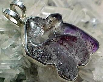 Carved Sacred Seven Agape Crystal Sterling Silver Pendant With Super Fine Minerals 013